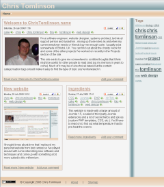 Screenshot of this website on 5th August 2008