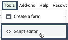 Screenshot of the tools menu in Google Sheets with a cursor hovering over the Script editor option