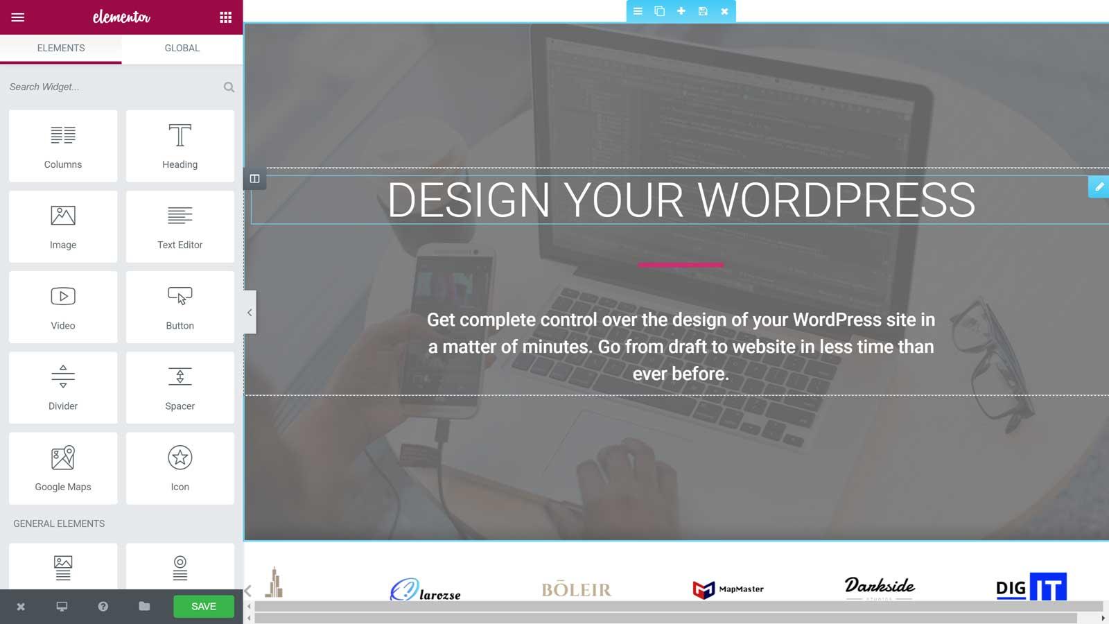 elementor - צילום מסך של הממשק