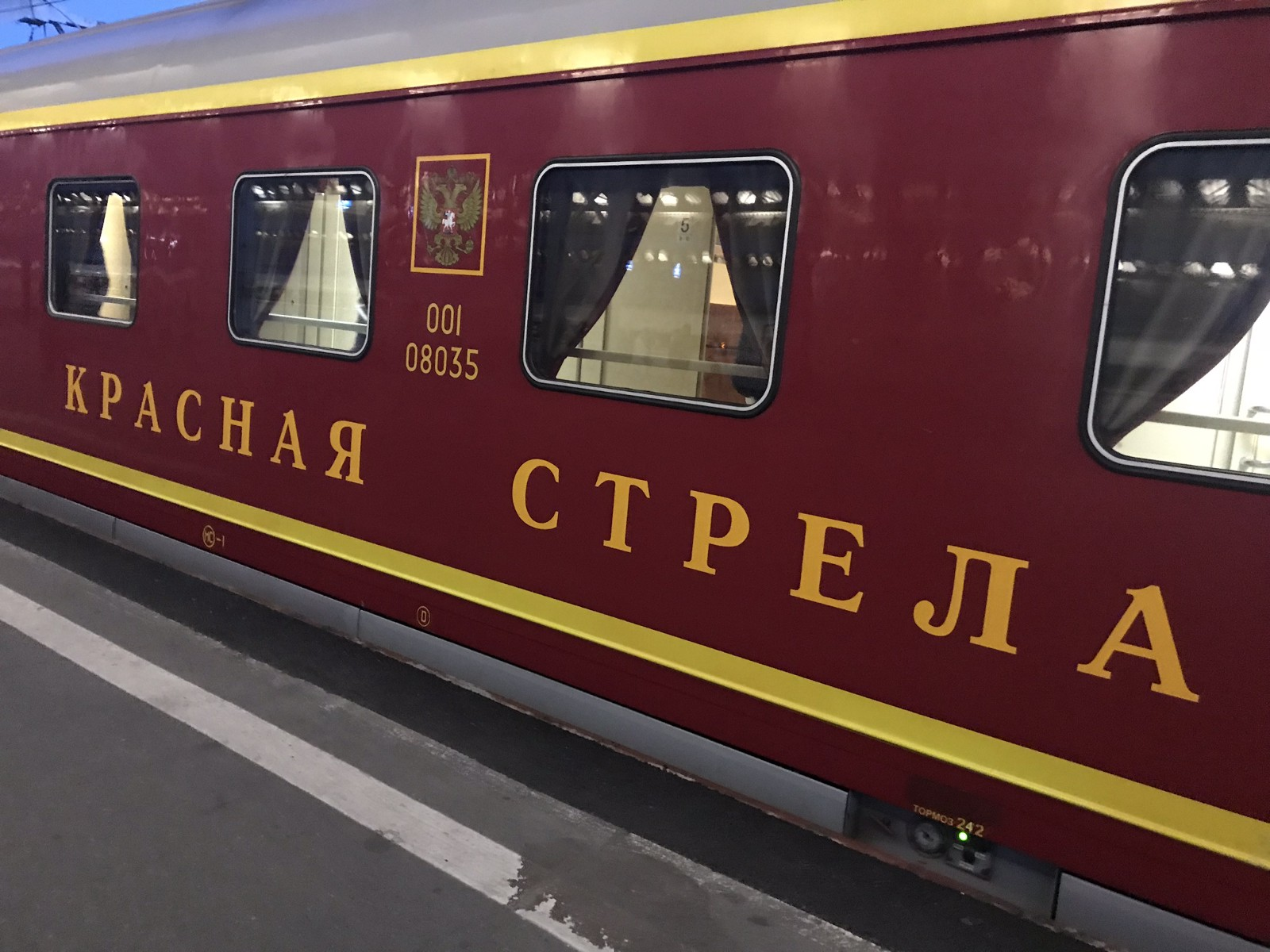 "The ""Red Arrow"" train to Moscow train leaves St Petersburg at 11:55pm sharp."