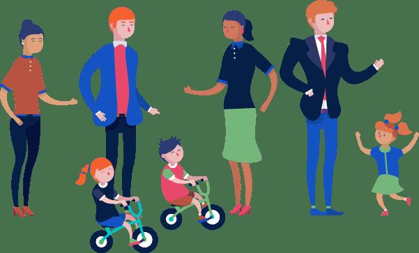 Coparents with children