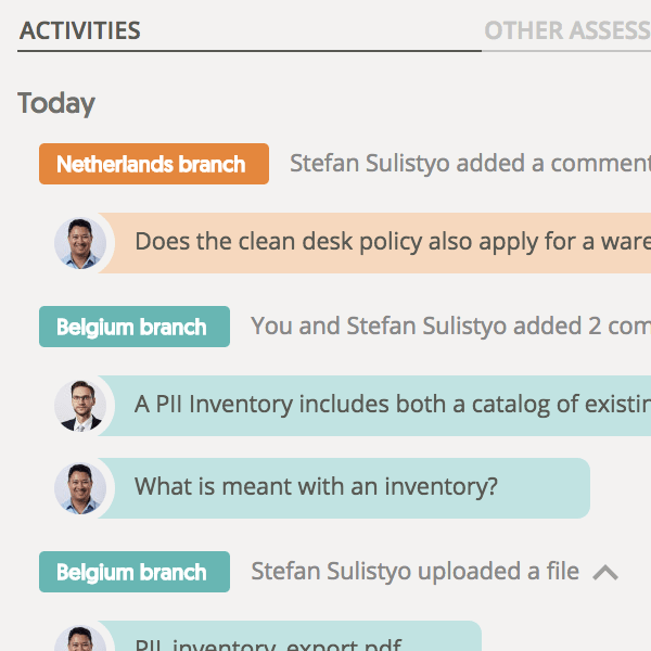 Assessment activity feeds