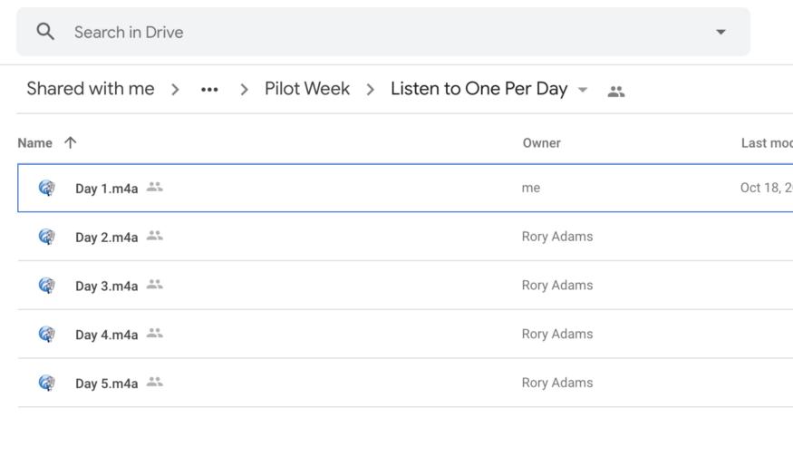 A screenshot of a Google Drive folder with Pilot Week recordings.