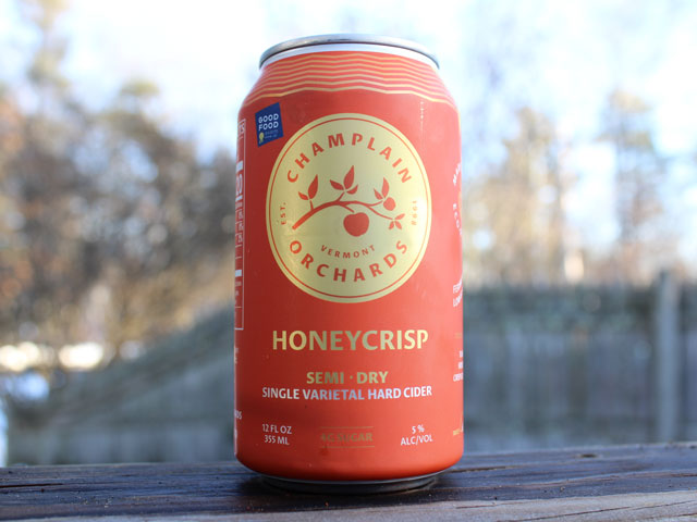 Honeycrisp, a Semi Dry Hard Cider brewed by Champlain Orchards