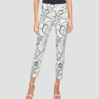 Joseph Ribkoff White/Blue Textured Printed Pants