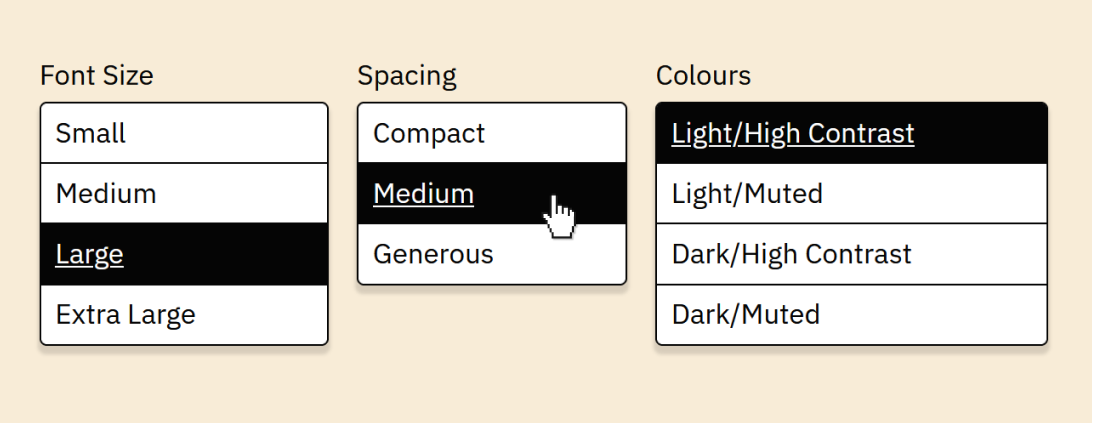 Screenshot of buttons to adjust font size, spacing, and colours.