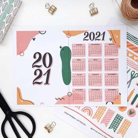 Capa Calendário e Adesivos - 2021