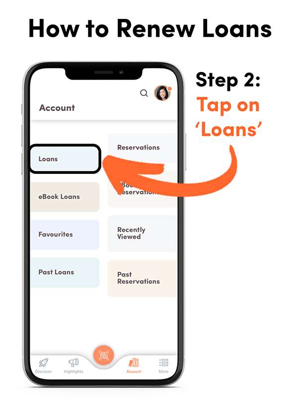 A tutorial screenshot for the app, showing how to renew loans - step 2.
