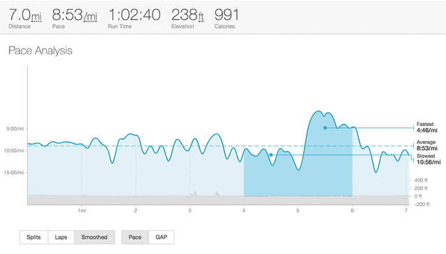 Fig 1. Strava data from a recent run. I can assure you that 4:46/mi is a mistake 😄