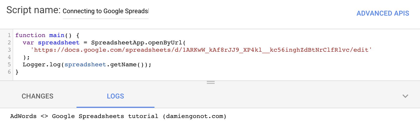 Spreadsheet name log