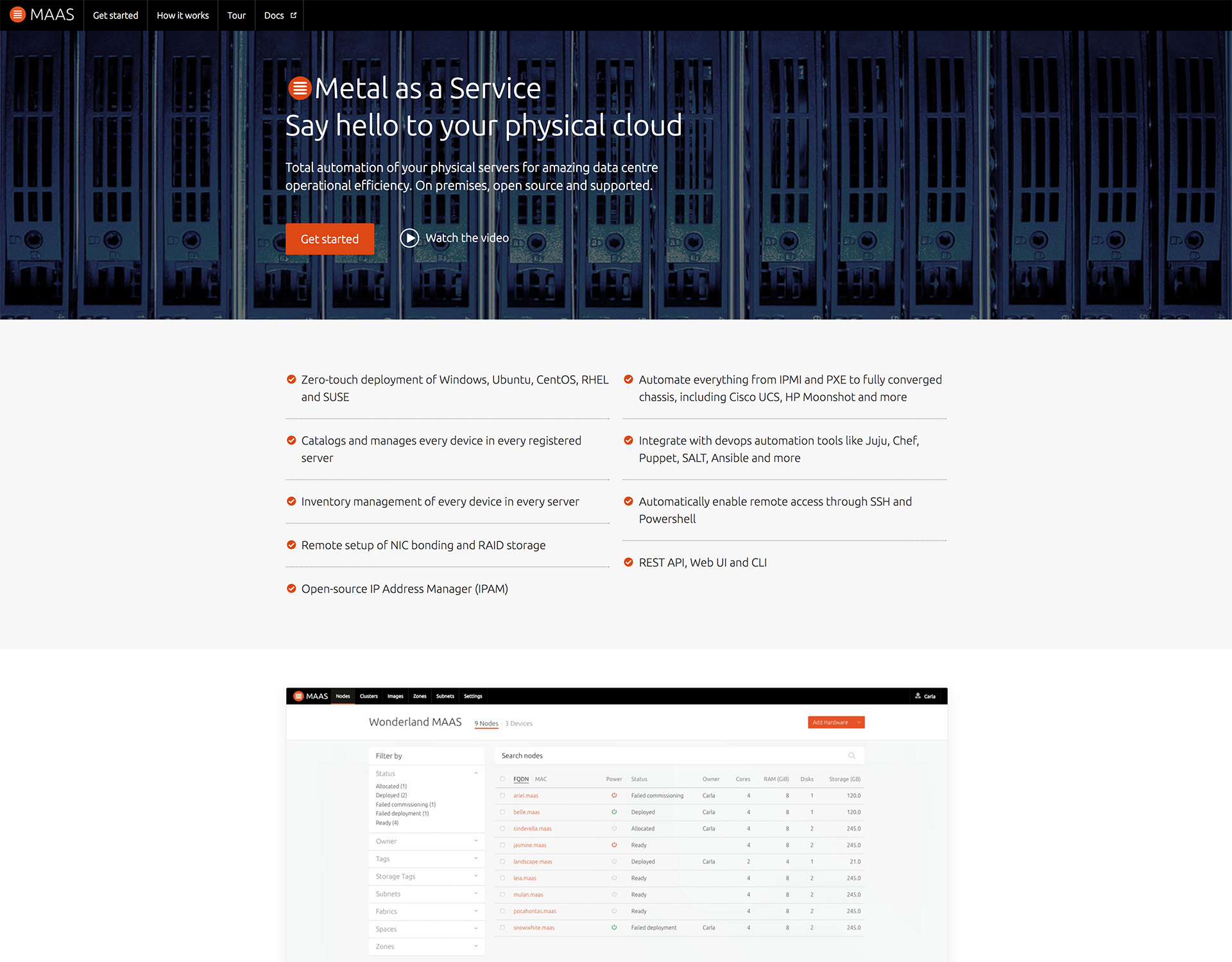 Image of the MAAS website homepage and intro.