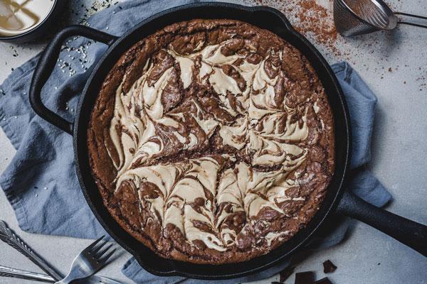 Double Chocolate Tahini Skillet Cookie