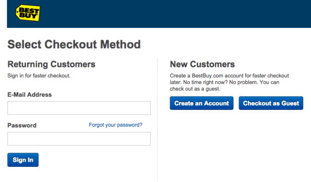 Best Buy guest checkout
