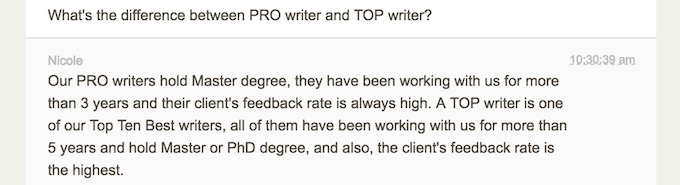 customer support answers on the question about the difference between PRO and TOP writers