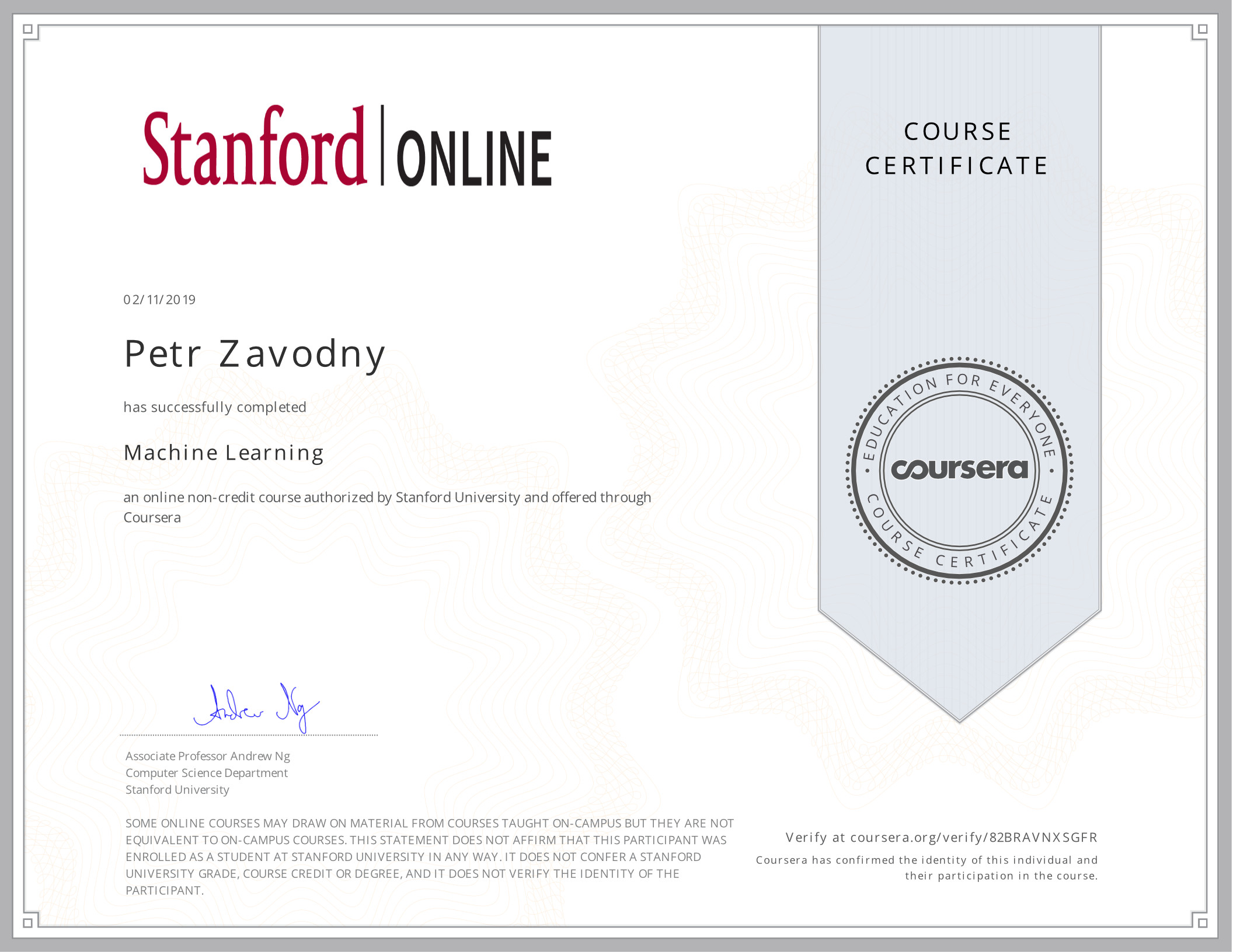certificate Machine Learning