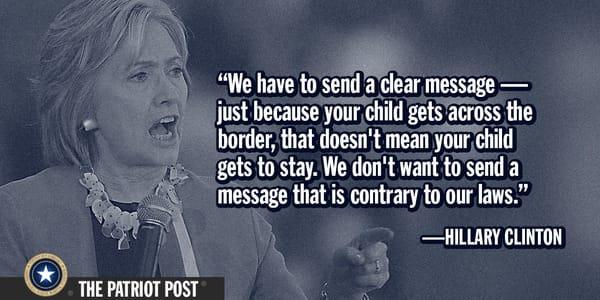 Hillary Clinton on unaccompanied illegal alien children