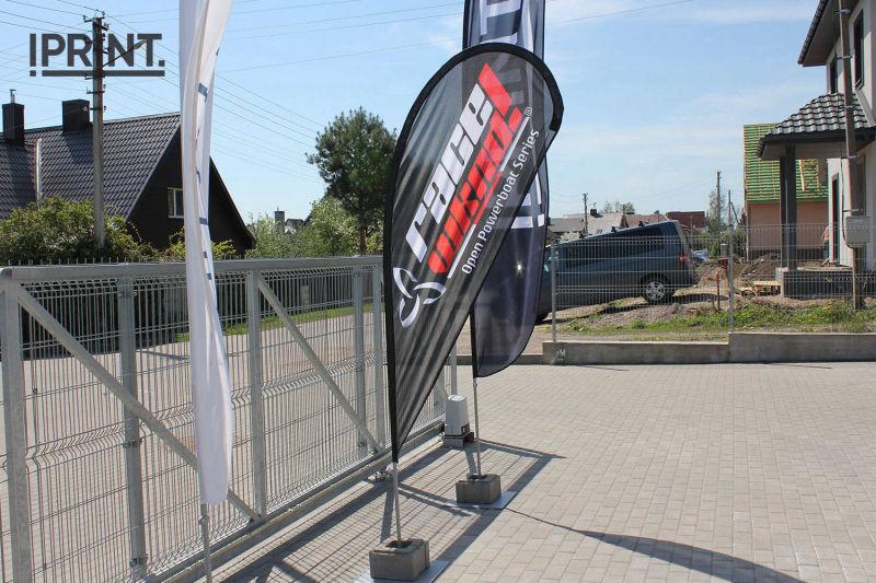 Reklaminių vėliavų stovų pavyzdžiai