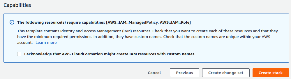 Screenshot of AWS Console showing warning displayed before Create Stack can be selected