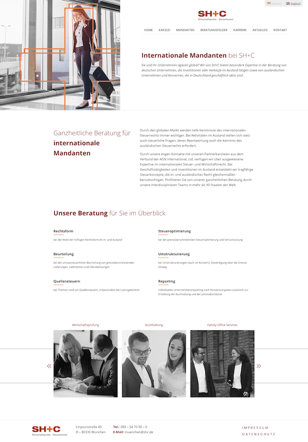 This page explains the services for international clients