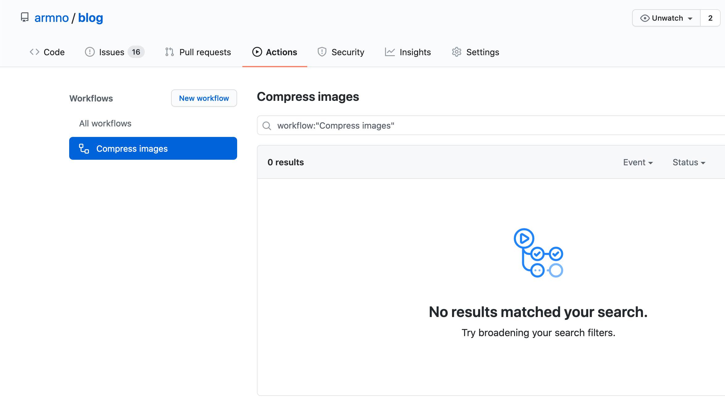 Workflow is create on the Actions page