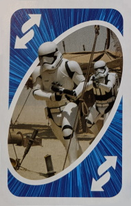 Star Wars Blue Uno Reverse Card