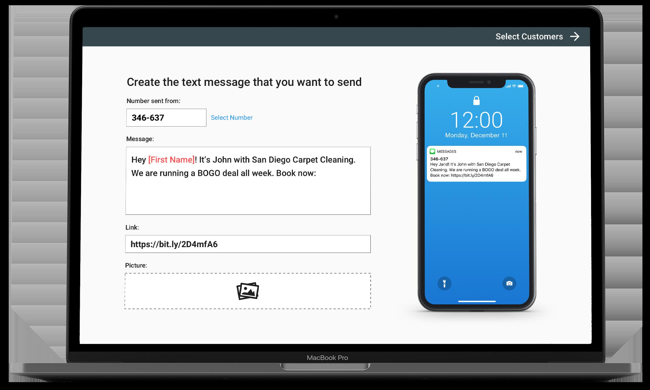 SMS Blast laptop view