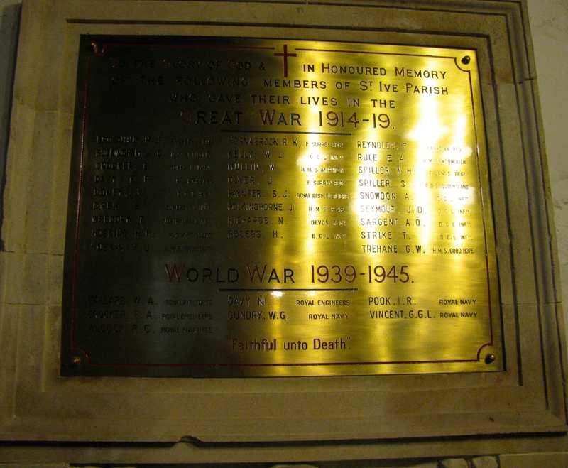 War memorial in St Ive church