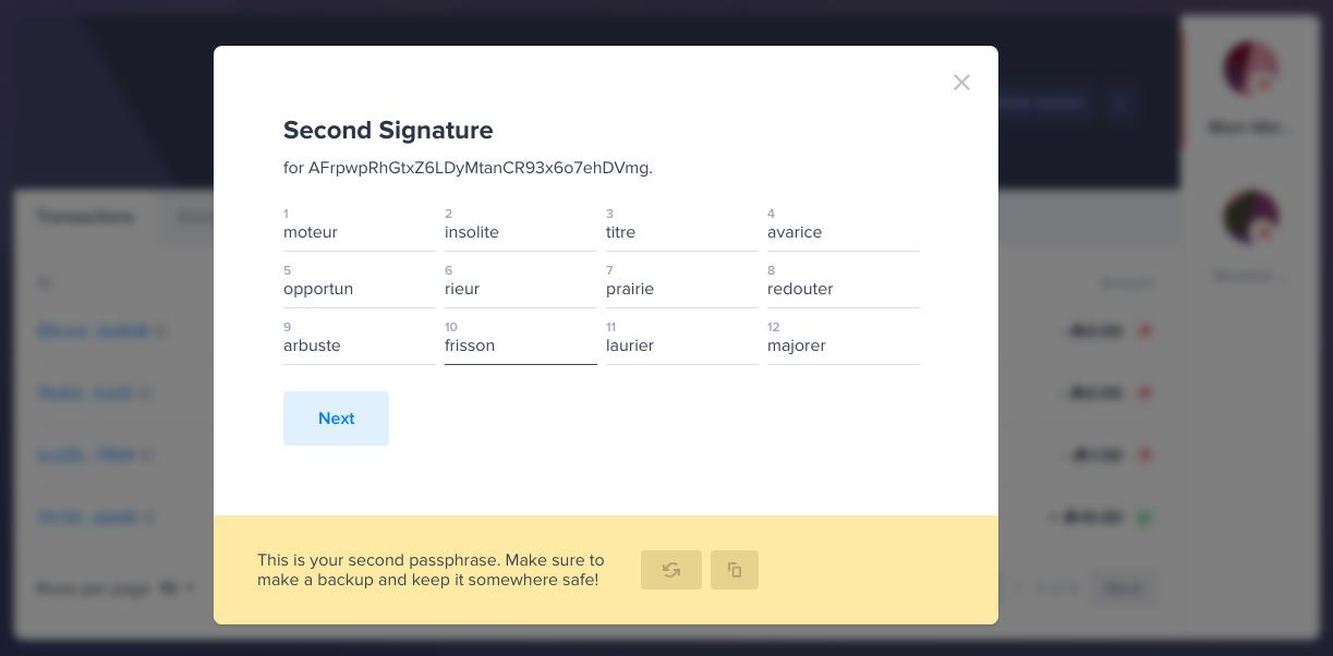 Second Signature Passphrase Generation