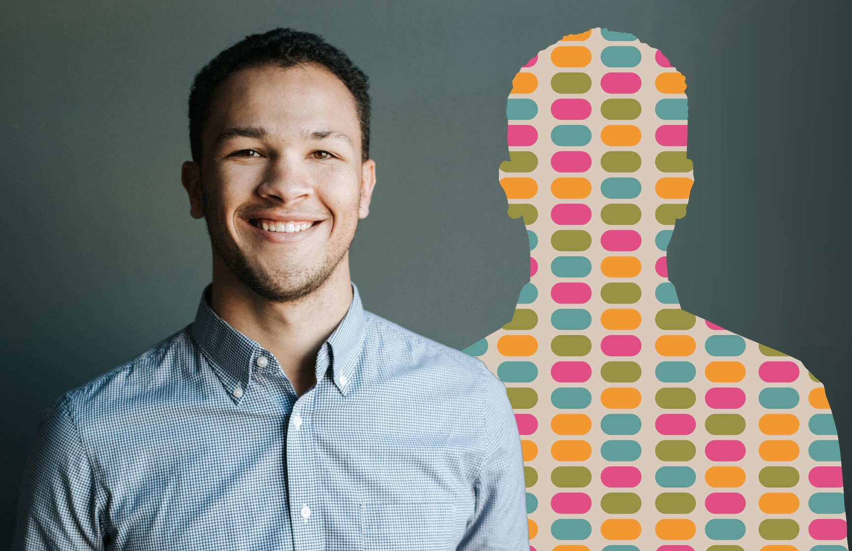 A photo of a young man alongside a graphic illustration of his DNA sequence