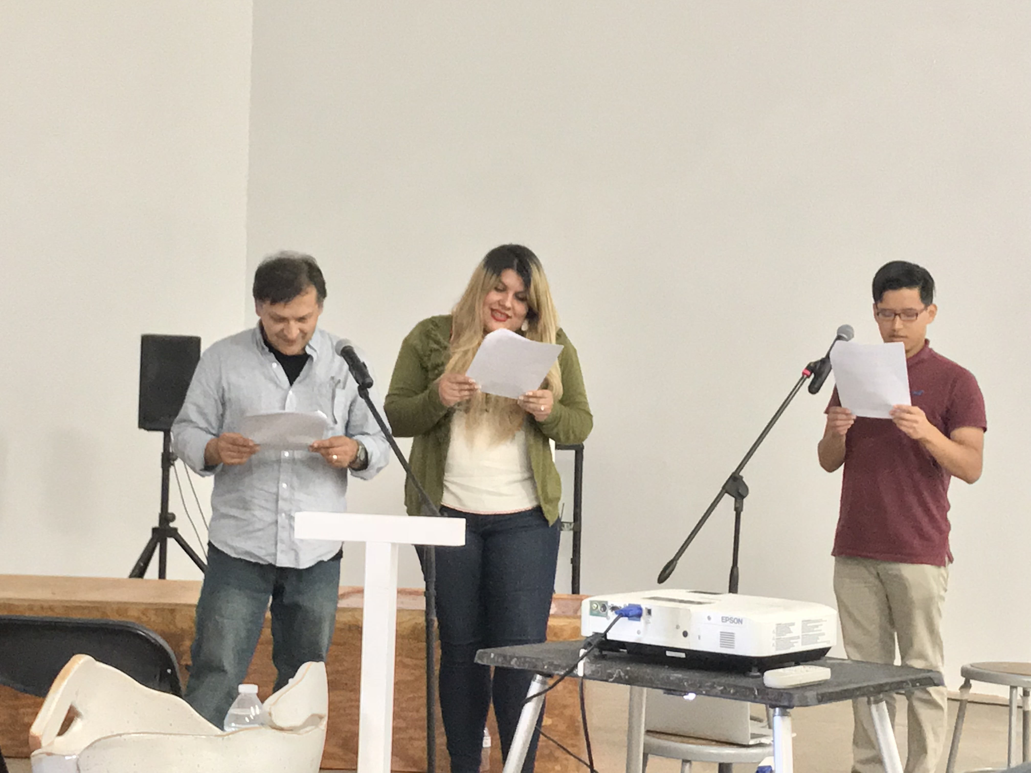 Juan Delgado and others reading poems