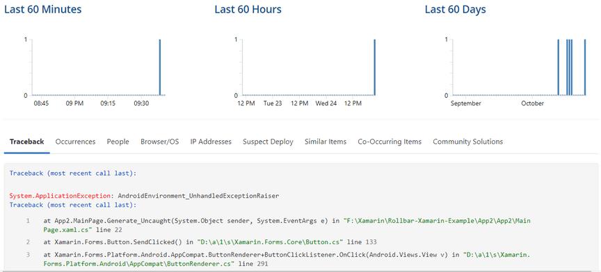 Screenshot of Rollbar error item detail