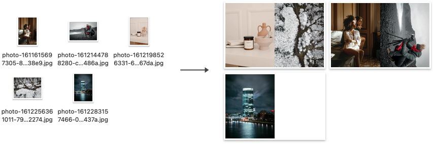 Example result of running `montage-half` in a folder with five Unsplash photos