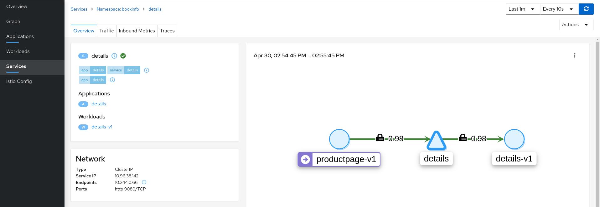 Service Details Showing Valid Configuration