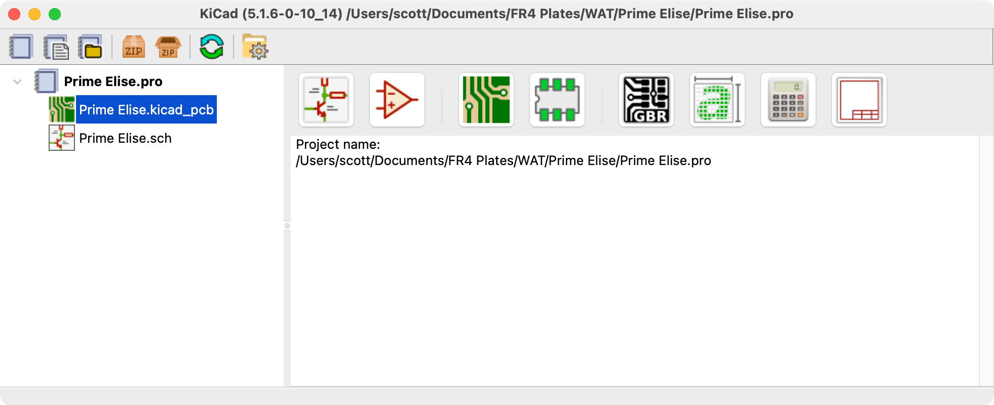 Prime Elise.kicad file selection