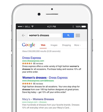 search results on an iphone