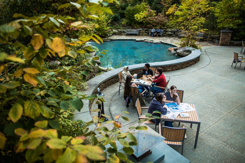 Image of students having a working session by a pond