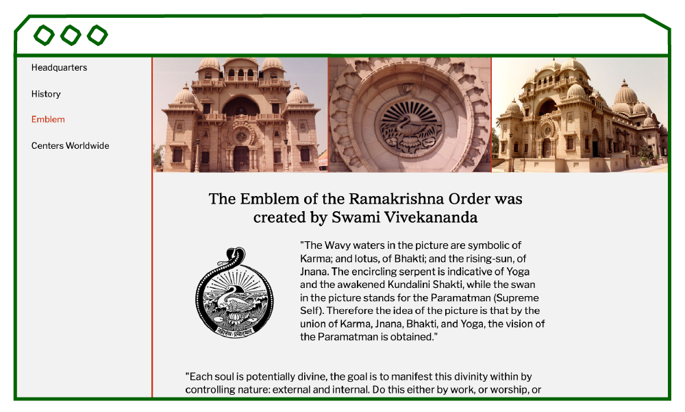 desktop display of the emblem page with images of Belur Math temples.