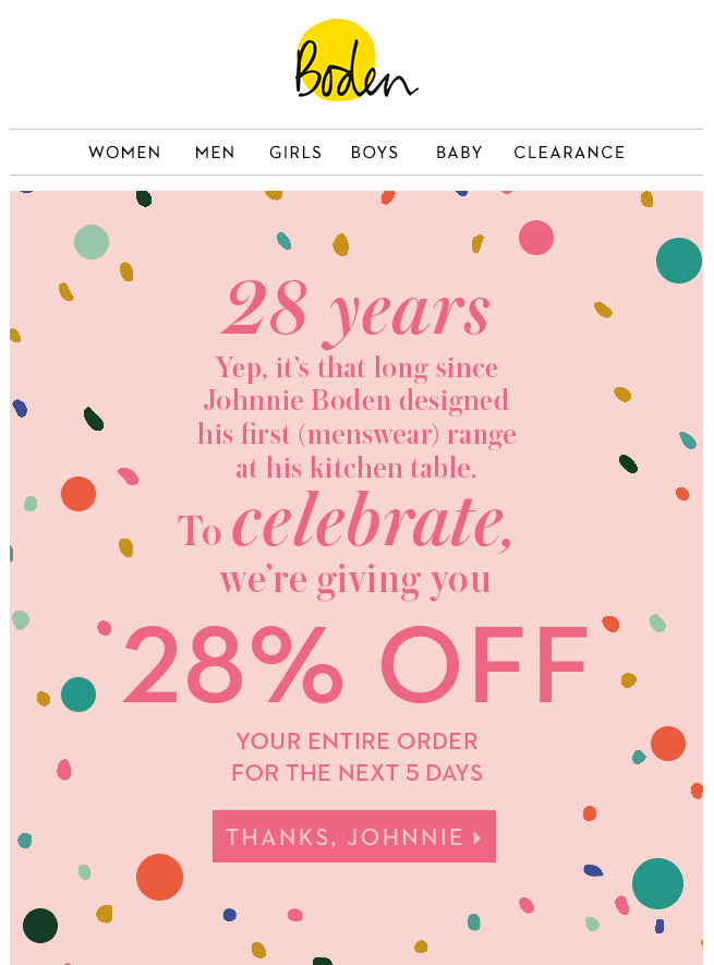 Boden birthday offer