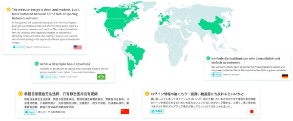 exemples de verbatims utilisateurs en anglais, portugais du Brésil, allemand, chinois et japonais