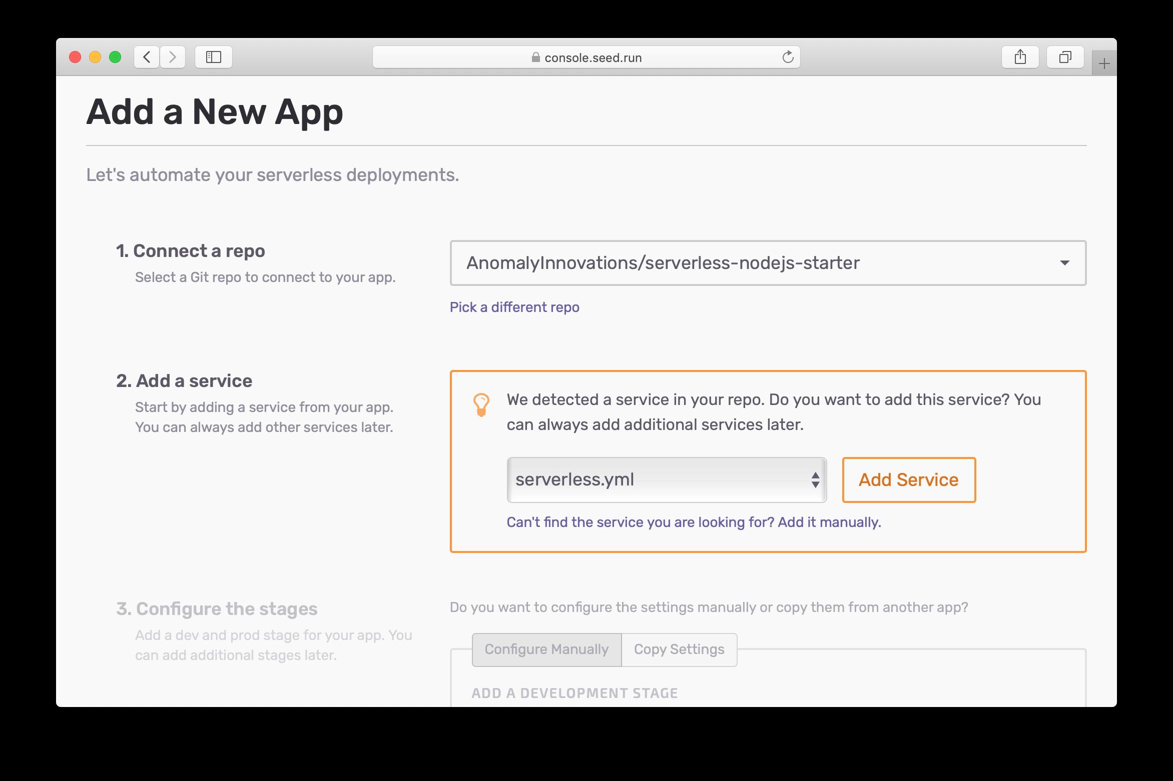 Auto-detect serverless.yml for new app