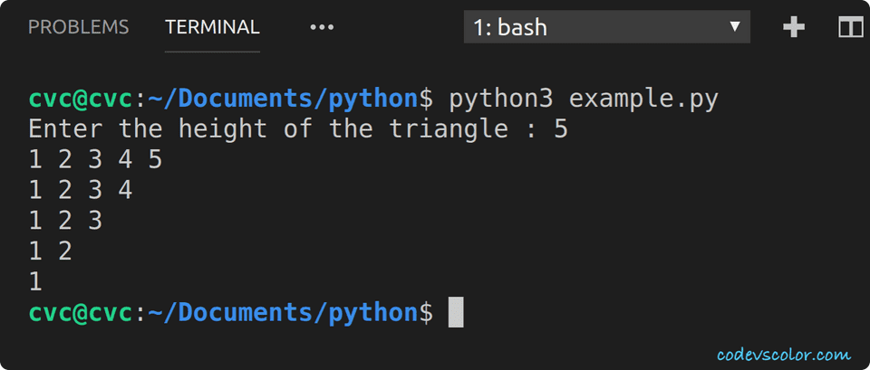 python invert right angle triangle number
