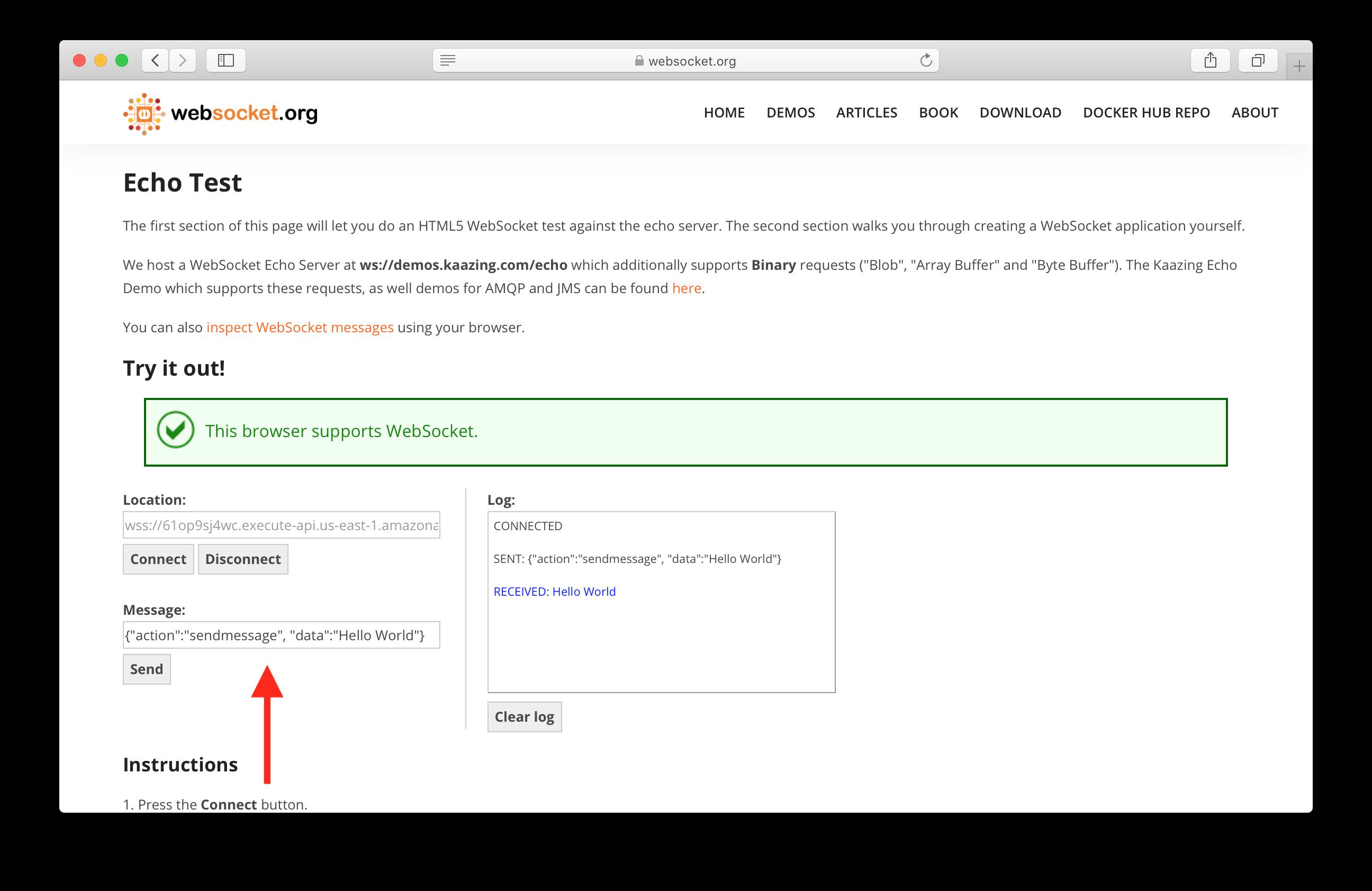 Send message to serverless WebSocket API