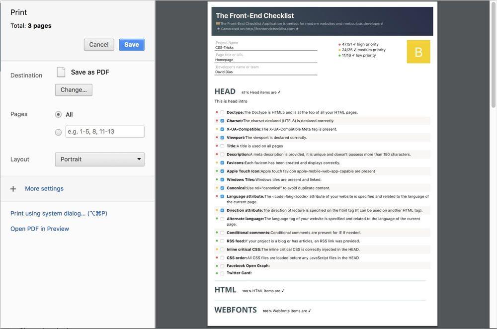 A screenshot of the print version of frontendchecklist.io