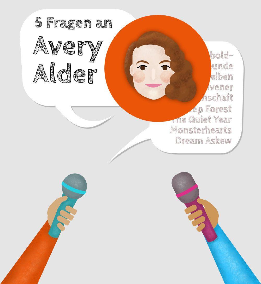 Stilisiertes Porträt von Avery Alder umgeben von Mikrofonen