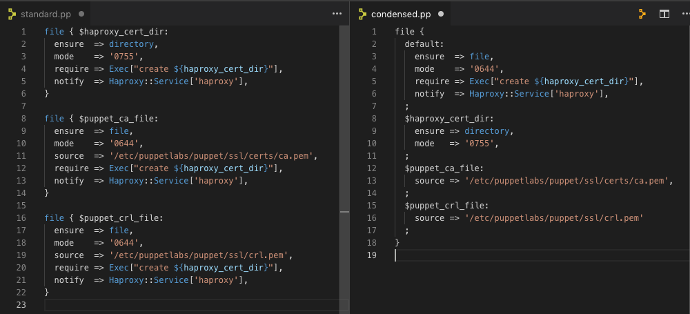 standard vs condensed screenshot
