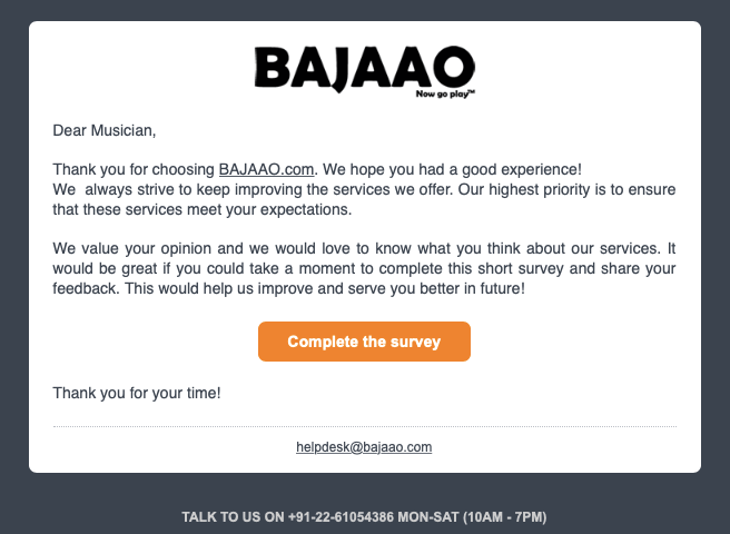 Bajaao complete the survey email