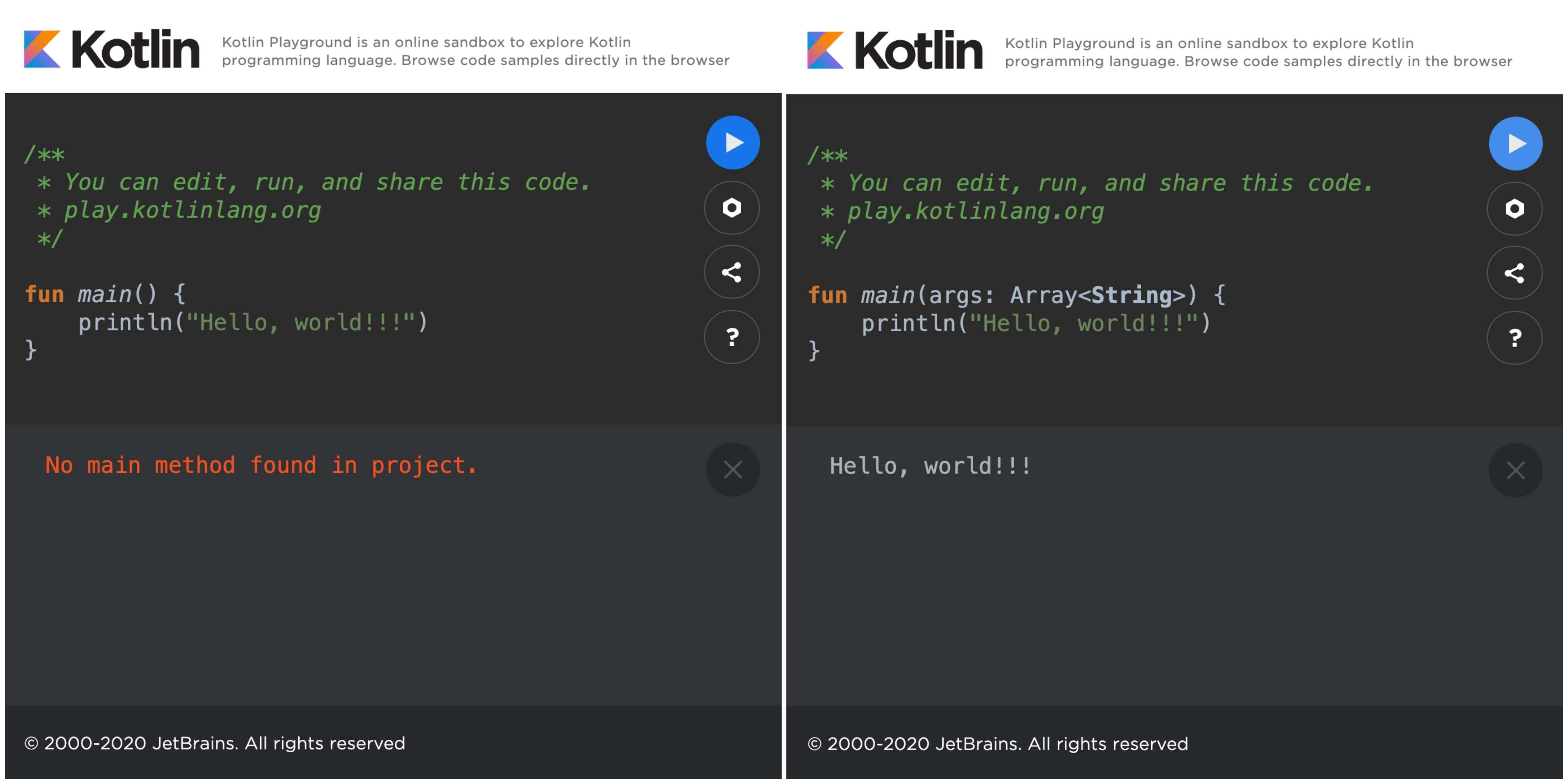Kotlin 1.2 vs Kotlin 1.3 Run Hello World