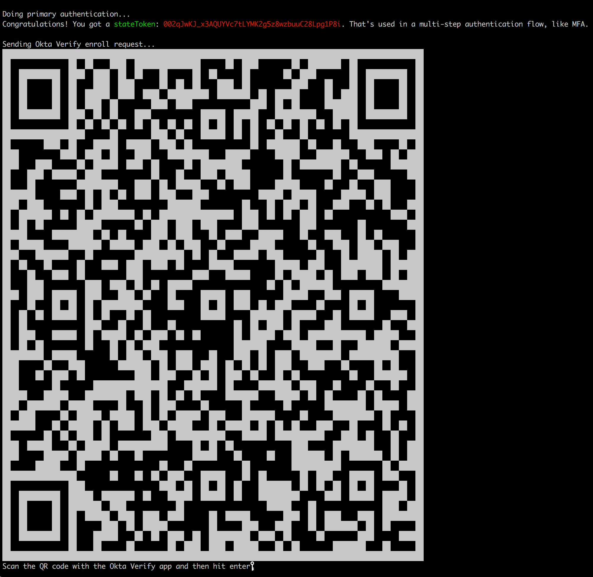 Sample QR code shown in the terminal window