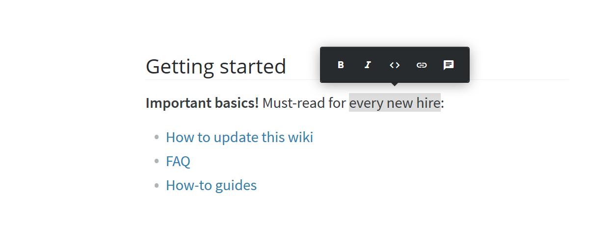 Company wiki content editor