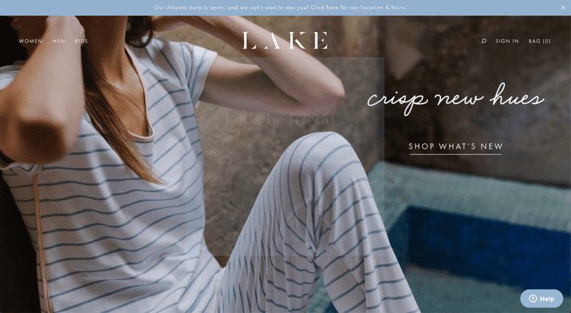Lake Pajama's Shopify Website Homepage